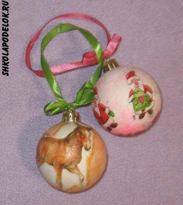 Оформление новогодних шаров в технике декупаж от Риммы Небесной