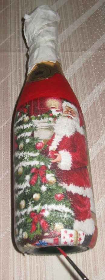 Декупаж бутылки шампанского к Новому году